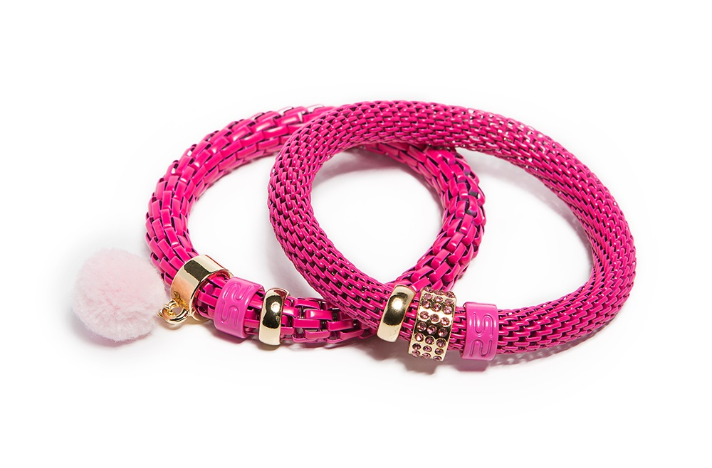 The Snake Strass Fluo Pink & Pompon | Bracelet Ø8mm