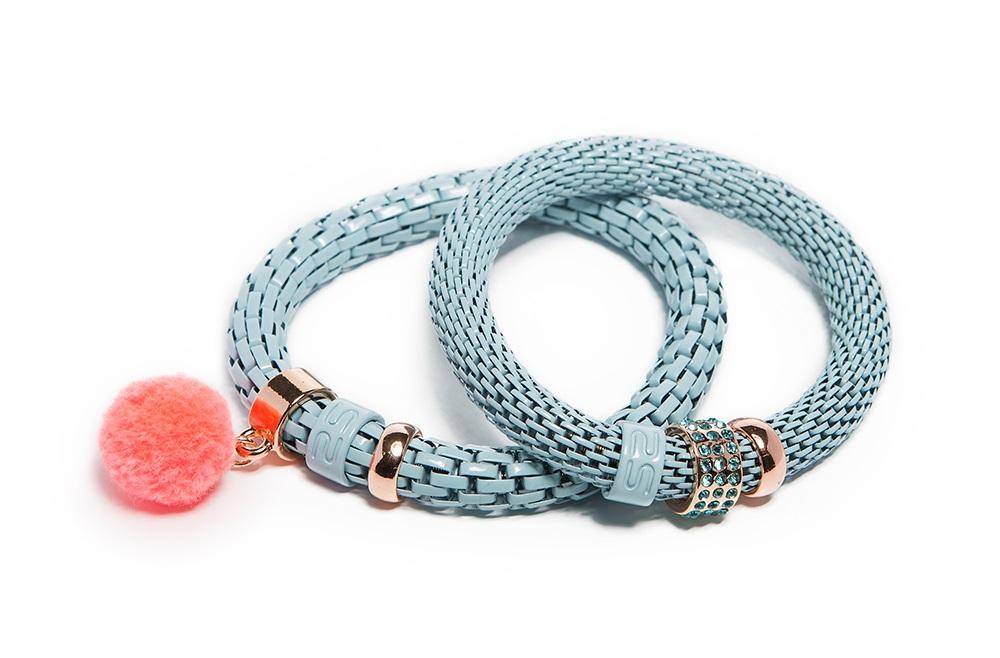 Whispering Blue & Pompon | Bracelet Ø8mm
