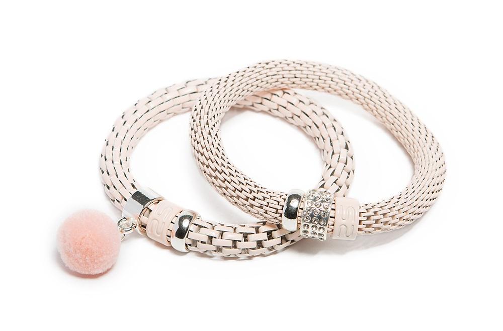 Soft Pink & Pompon | Bracelet Ø8mm