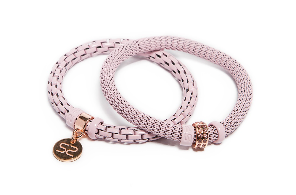 Strawberry Ice-Cream Pink & Ss Tag | Bracelet Ø5.5mm