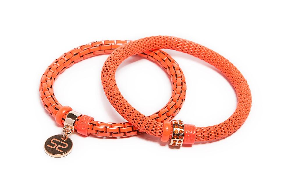 Fluo Coral & Silis Logo Tag | Bracelet Ø5.5mm