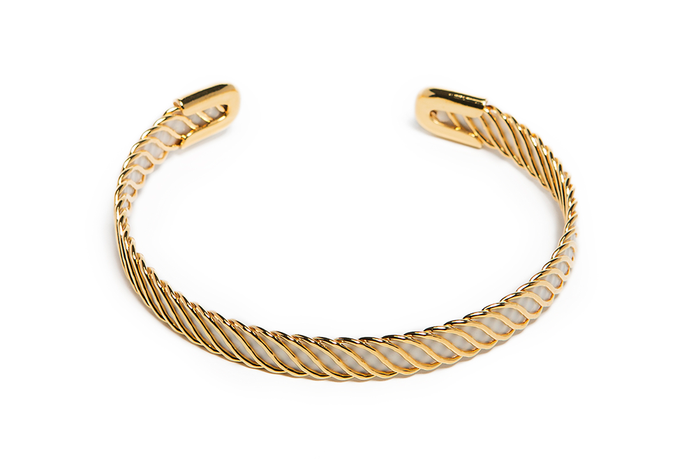 The Esclave Color Gold & Summer White | Silis Clamp Cuff Bracelet