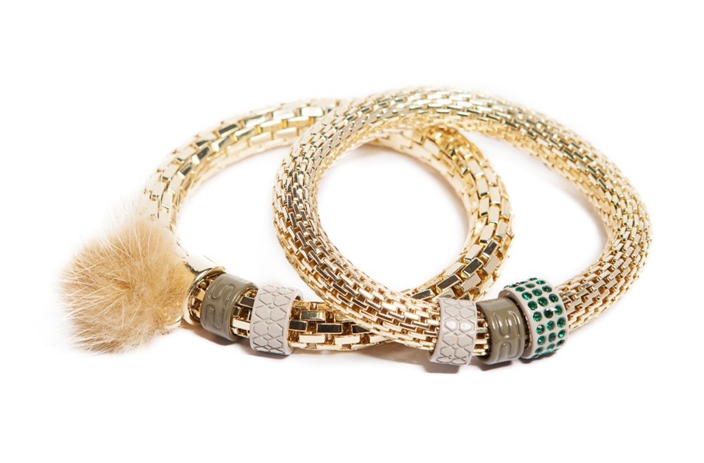 The Snake Strass Gold Out & Soft Tassel | Silis Bracelet