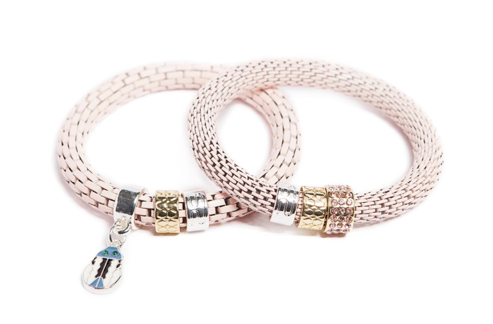 The Snake Strass Marshmallow Pink & Beetle | Silis Bracelet