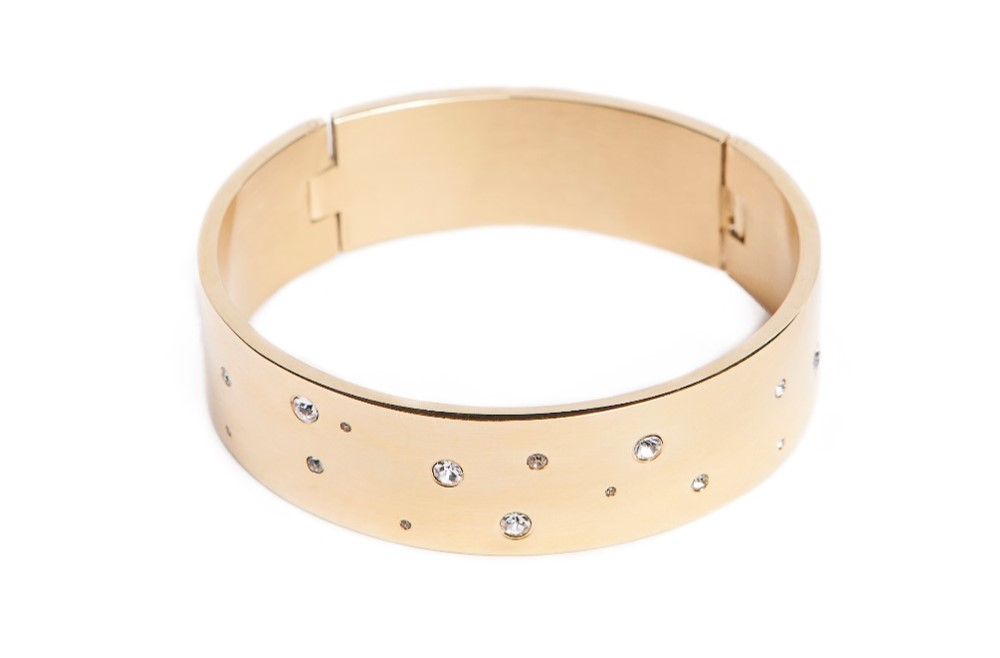 The Bangle XL Gold Out & White Strass | Silis Bracelet