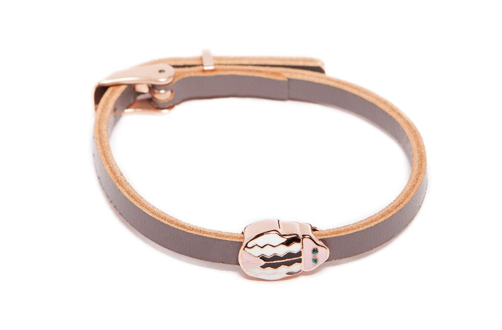 The Leather Beetle Take Me Inside Taupe | Silis Leather Bracelet