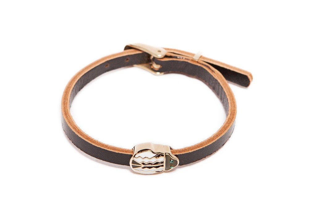 The Leather Beetle Classic Black | Silis Leather Bracelet