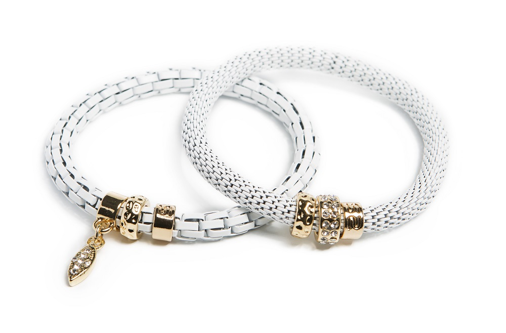 WHITE MAGIC & OVAL STRASS CROSS BRACELET | SILIS ARMBAND