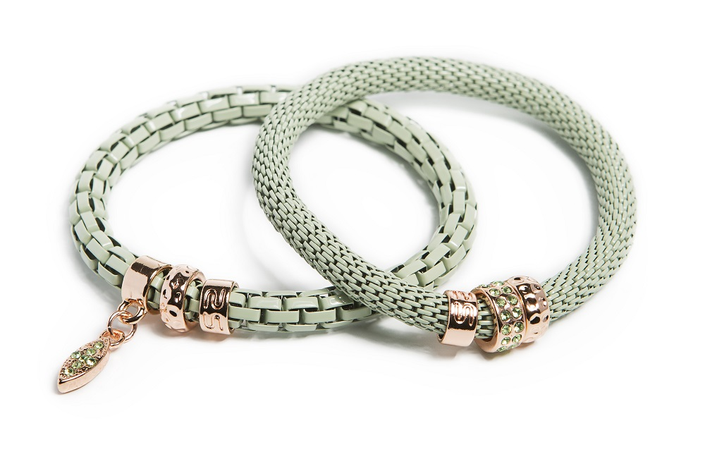 The Snake Strass Mysterious Green & Oval Strass Cross | Silis Bracelet