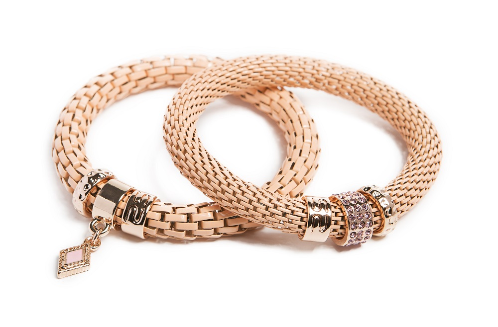 The Snake Strass Apricot Brandy & Diamond Charm | Silis Bracelet