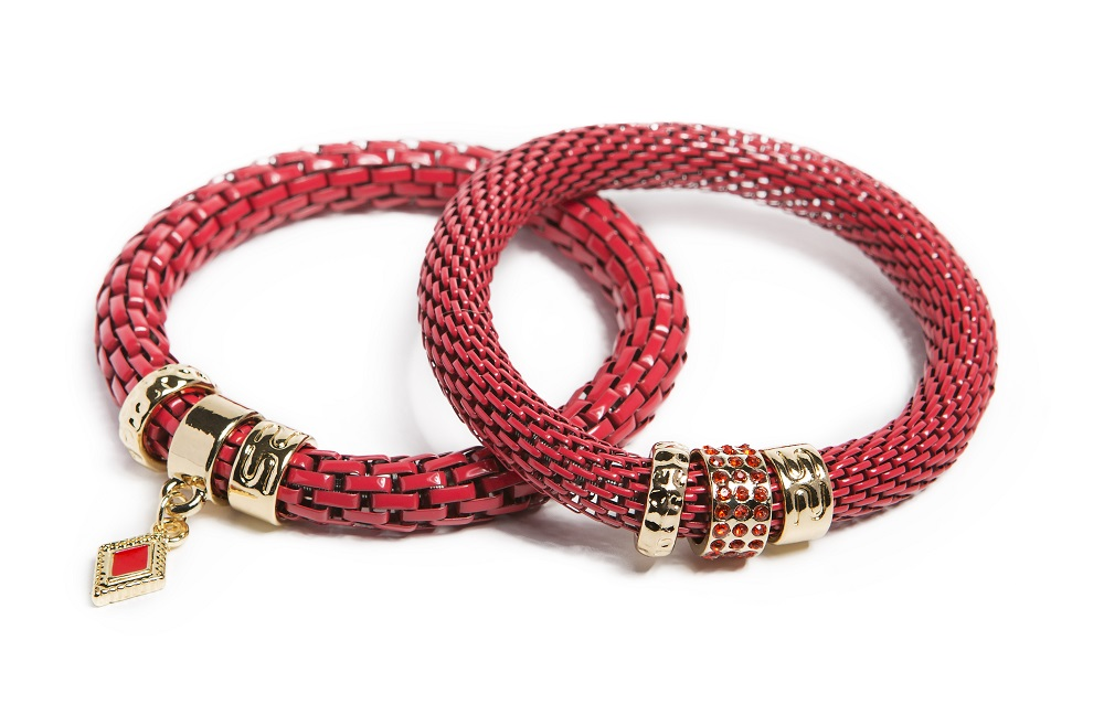 The Snake Strass Red Rum & Diamond Charm | Silis Bracelet