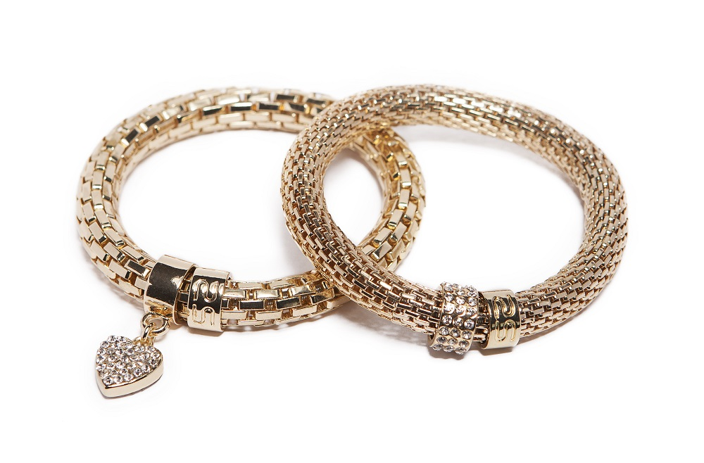 The Snake Metal Strass Gold Out & Strass Heart | Silis Bracelet