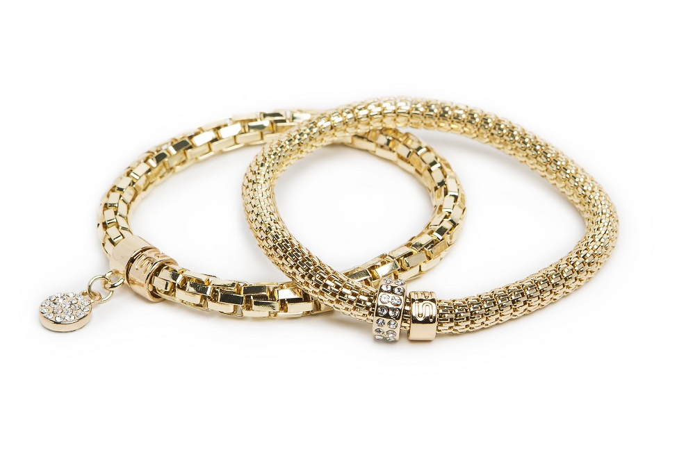 New Ø5.5mm The Snake Metal Strass Gold Out & Strass Heart | Silis Bracelet