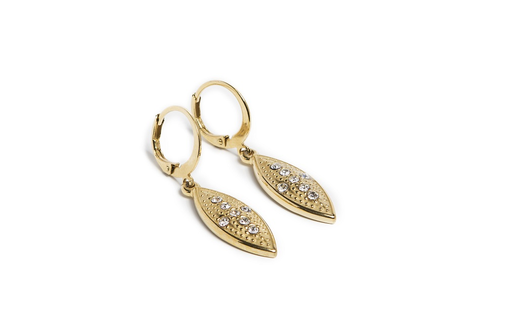 The Earrings Oval Cross Gold Out | Silis Charm Earrings