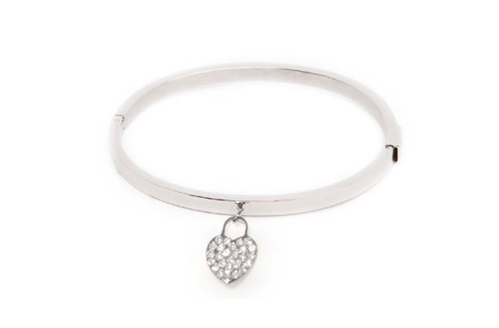 THE BANGLE STRASS HEART | SO SILVER