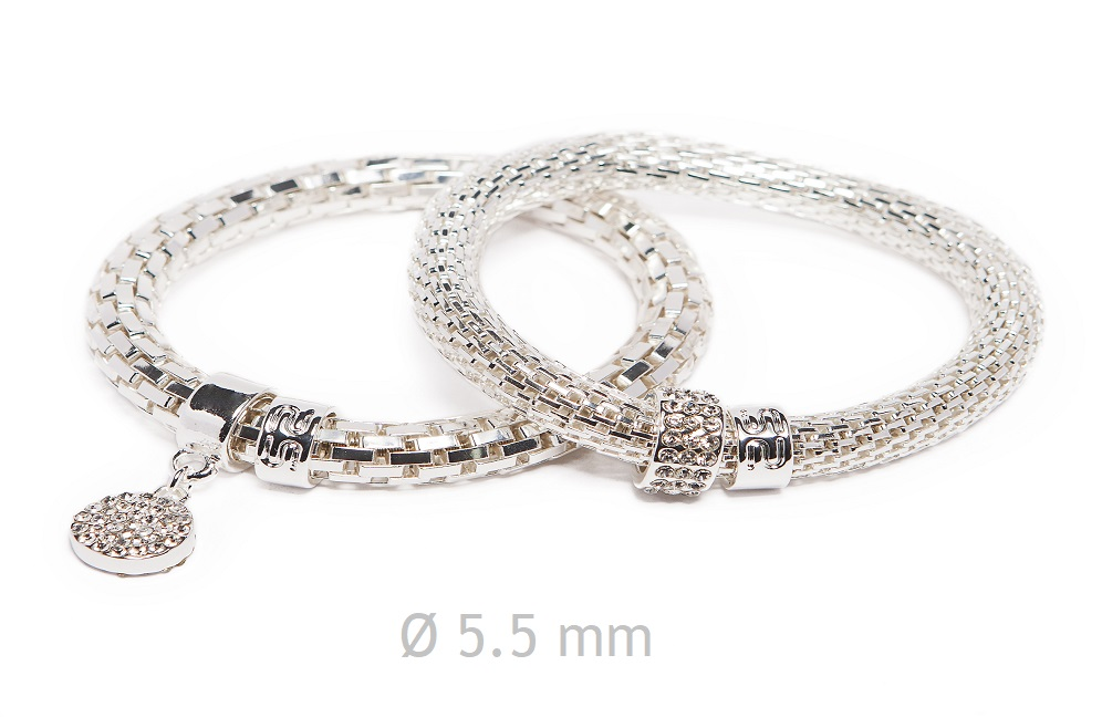 NEW Ø5.5MM THE SNAKE METAL STRASS | SO SILVER & STRASS ROUND