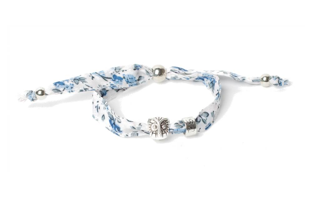 The Lucky Floral Blue & Charm Owl | Silis Bracelet for Girls