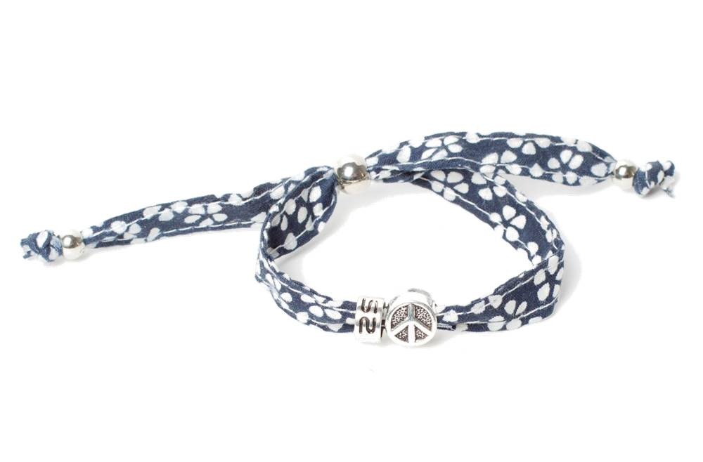 The Lucky Floral Dark Blue & Charm Peace | Silis Bracelet for Girls & Boys