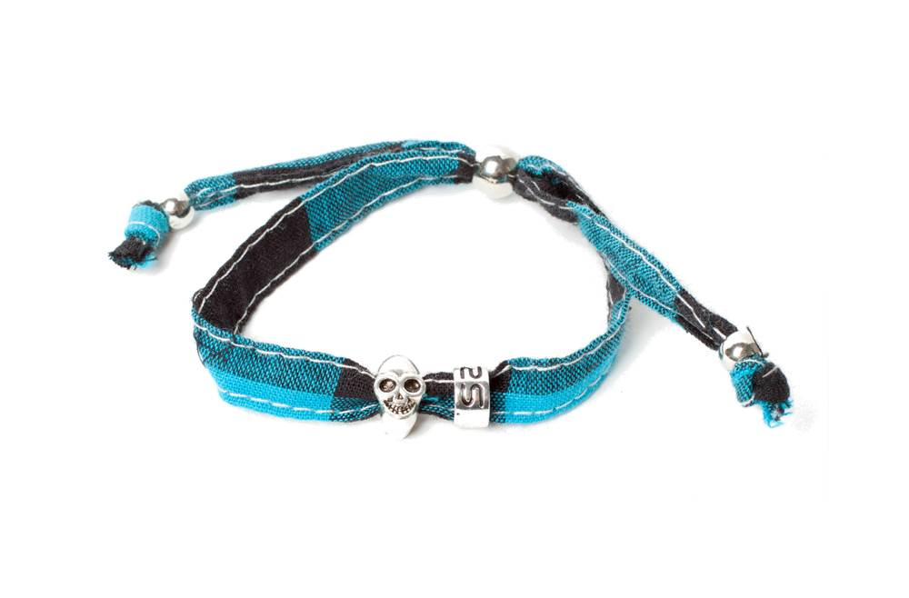 The Lucky Blue-Black & Charm Skull | Silis Bracelet for Boys