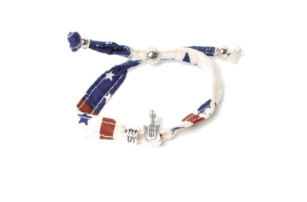 The Lucky Flag Usa & Charm Guitar | Silis Bracelet for Boys