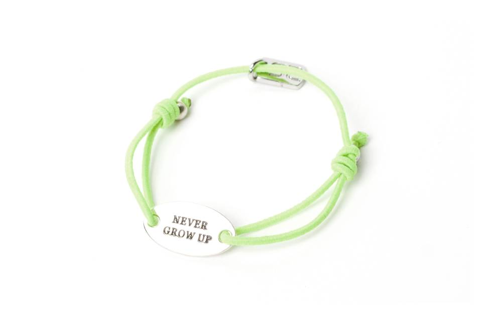 The Elastic Green & Text Never Grow Up | Silis Bracelet for Girls & Boys