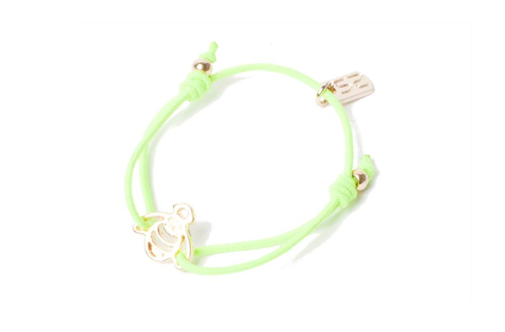 The Elastic Green & Charm Bee | Silis Bracelet for Girls