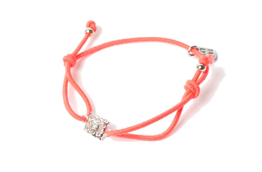 The Elastic Peach & Charm Square Strass | Silis Bracelet for Girls