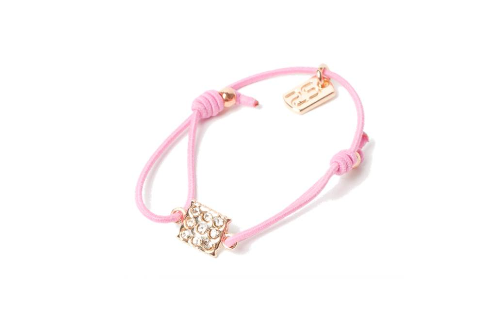 The Elastic Pink & Charm Square Strass | Silis Bracelet for Girls
