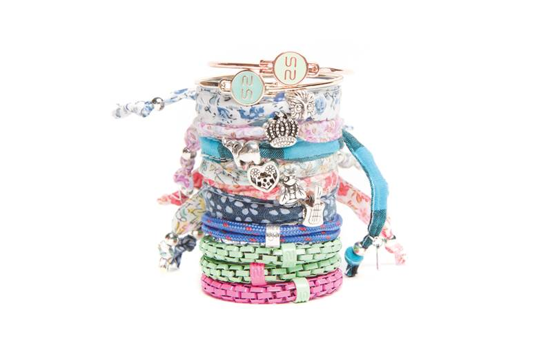 The Elastic Blue & Charm Heart Strass | Silis Bracelet for Girls