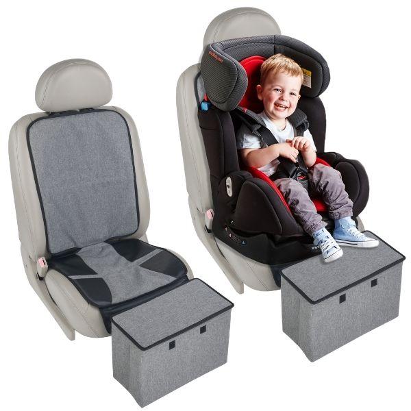 Autostoel beschermer met opbergbox en voetensteun