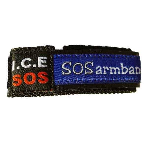 SOS polsbandje Waterproof naambandje blauw