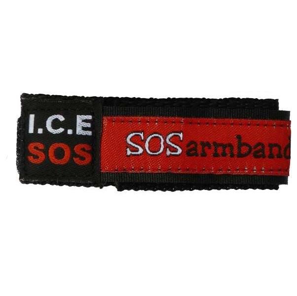 Polsbandje SOS armband met klittenbandsluiting - Rood