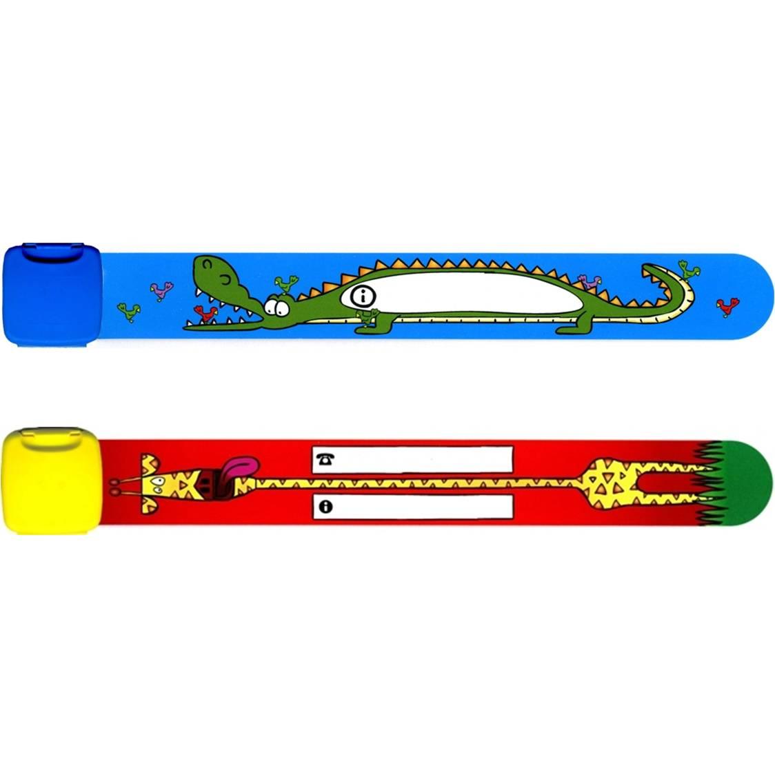 Infoband polsbandjes - Set van 2 Krododil & Giraf