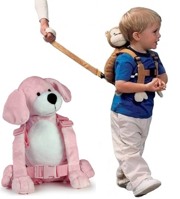 Kindertuigje met looplijn Harness Buddy - Puppy roze