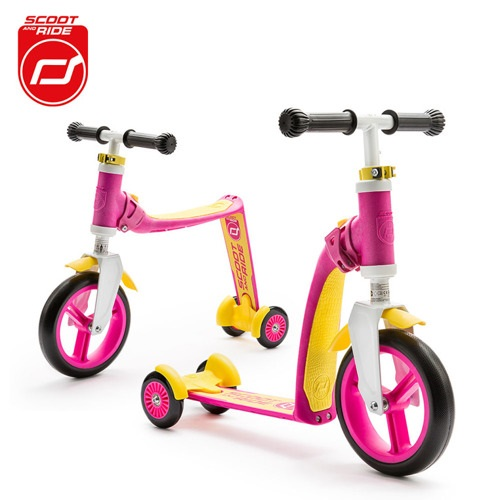 2-in-1 Loopfiets en Step Highway Baby+ roze-geel
