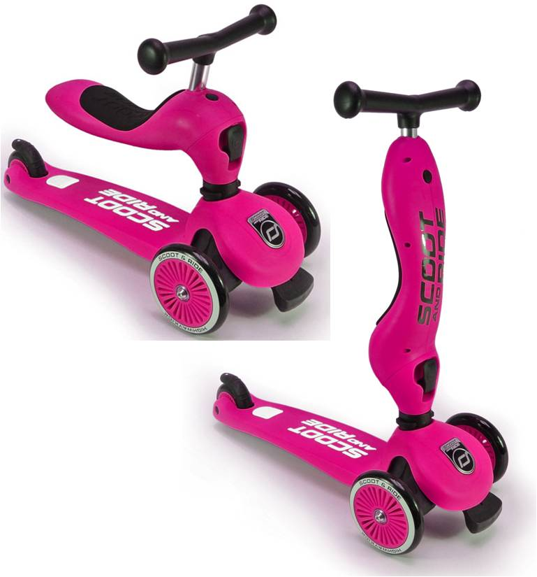 2-in-1 Loopfiets en Step Highway Kick roze