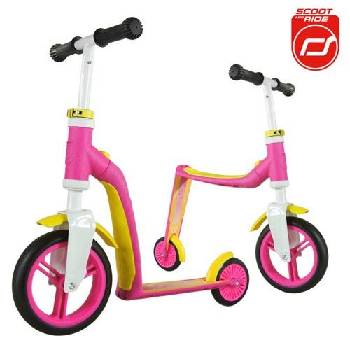 2-in-1 Loopfiets en Step Highway Baby roze-geel
