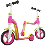 2-in-1 Loopfiets en Step Highway Baby roze-geel