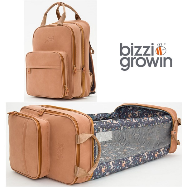 Reiswieg & Luiertas Rugtas 2-in-1 Bizzi Growin - Vegan Leather Bruin