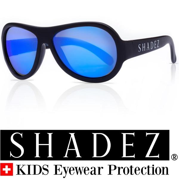 Shadez UV zonnebril Zwart met Blauwe spiegelglazen