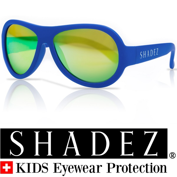 Shadez UV zonnebril Blauw met Groene spiegelglazen