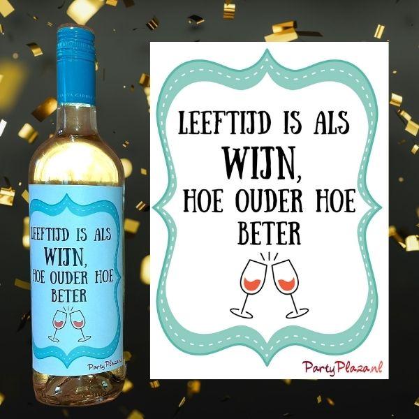 Wijnetiketten Verjaardag Set van 4 verschillende etiketten