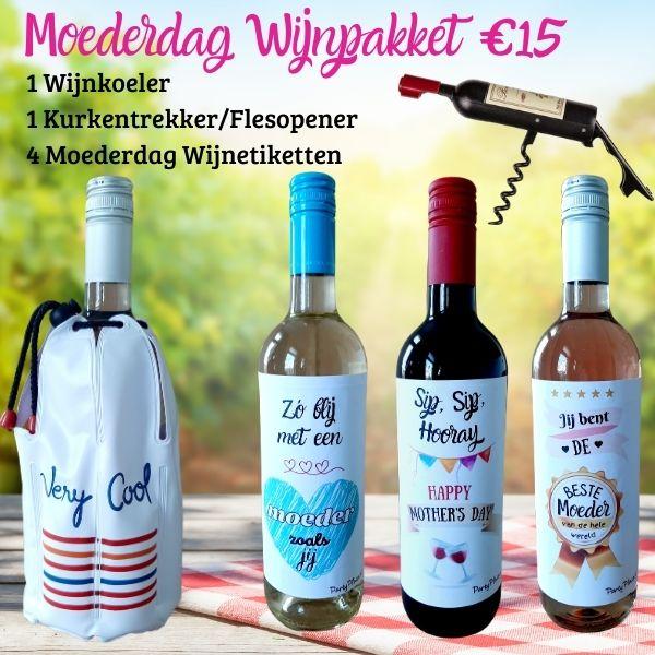 Moederdag Cadeau Wijnpakket 1 Koeler, opener & 4 wijnetiketten