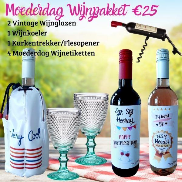 Moederdag Cadeau Wijnpakket 2 Glazen, koeler, opener & 4 etiketten
