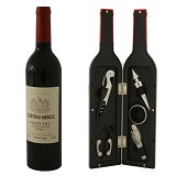 Wijnset met 5 wijn accessoires in wijnfles vorm