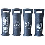 Wijntassen vilt cadeauverpakking Set van 4 wijntasjes