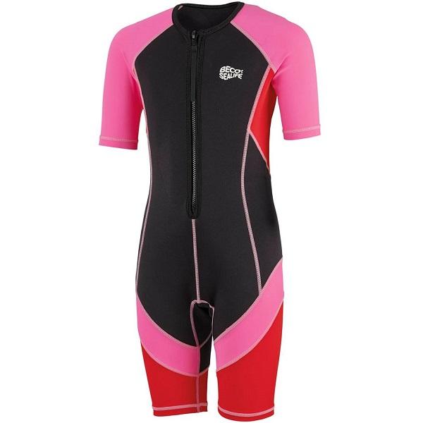 UV kinder wetsuit Beco Sealife zwart/roze/rood
