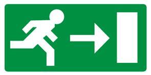 """Pictogramme Pikt-O-Norm """"nooduitgang rechts"""""""