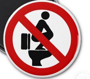 """Pikt-O-Norm  """"verboden bovenop toilet te zitten"""""""
