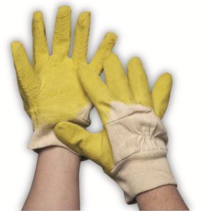 Gele latex werkhandschoen